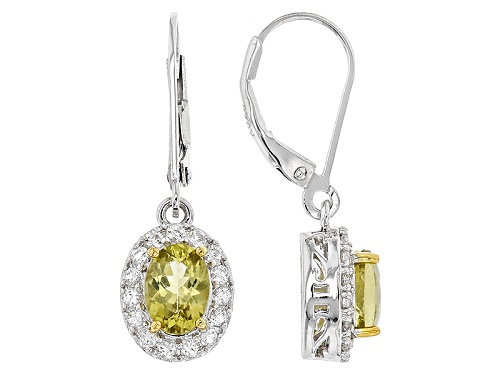 Photo of 1.44ct Oval Canary Apatite With .48ctw Round White Topaz Sterling Silver Dangle Earrings