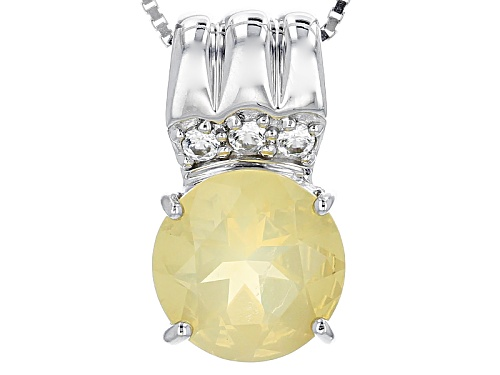 Photo of 2.10ct Round Oregon Fire Opal And .27ctw Round White Zircon Silver Pendant With Chain