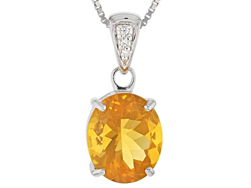 Photo of 2.92ct Oval Oregon Fire Opal With .02ctw Round White Zircon Silver Pendant With Chain