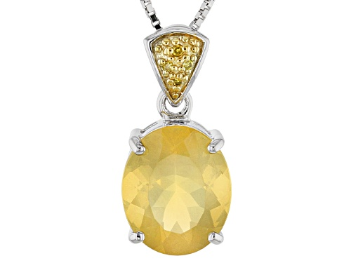 Photo of 2.92ct Oval Lemon Oregon Fire Opal And .01ctw Four Yellow Diamond Accents Silver Pendant With Chain