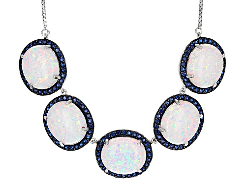 "Photo of 15.17ctw Lab Opal And Lab Blue Spinel Silver Bolo Necklace, Adjusts To Approximately 28""L - Size 18"