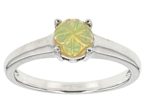 Photo of .45ct Round Carved Flower Ethiopian Honey Opal Solitaire Sterling Silver Ring - Size 8
