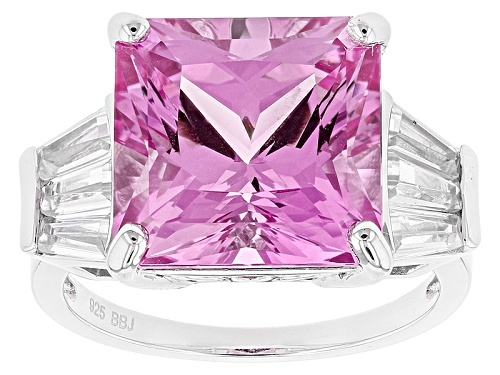 Photo of 9.70ct Square Lab Created Pink Sapphire & .97ctw Tapered Baguette White Zircon Silver Ring - Size 8