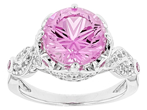 Photo of 4.04ct Lab Created Pink Sapphire W/ .18ctw Pink Sapphire & .32ctw Topaz Rhodium Over Silver Ring - Size 9