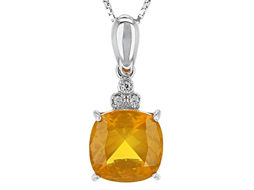 3.10ct Square Cushion Oregon Fire Opal With .05ctw White Zircon Silver Pendant With Chain