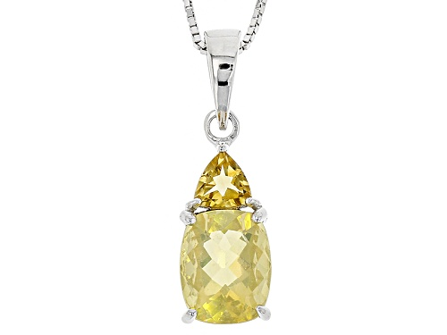 Photo of 1.60ct Rectangular Cushion Oregon Fire Opal & .38ct Trillion Citrine Silver Pendant W/Chain