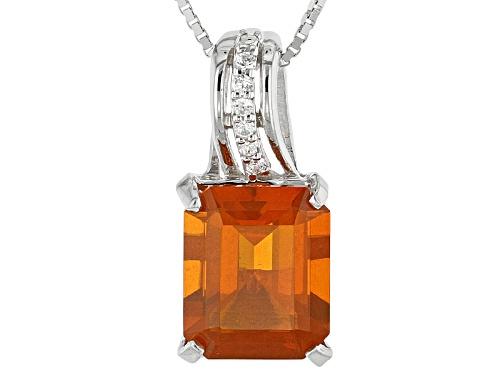 2.50ct Emerald Cut Orange Oregon Fire Opal And .05ctw White Zircon Silver Pendant W/Chain