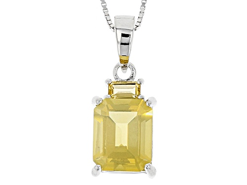 Photo of 2.50ct Emerald Cut Oregon Fire Opal & .28ct Emerald Cut Citrine Silver Pendant With Chain