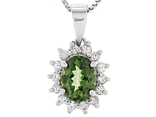 Photo of .99ct Oval Green Apatite With .40ctw Round White Zircon Sterling Silver Pendant With Chain