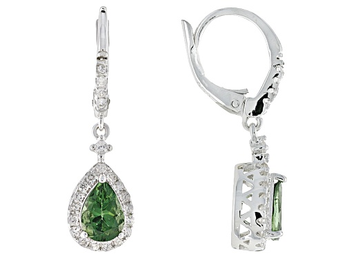 Photo of 1.10ctw Pear Shape Green Apatite And .38ctw Round White Zircon Silver Dangle Earrings