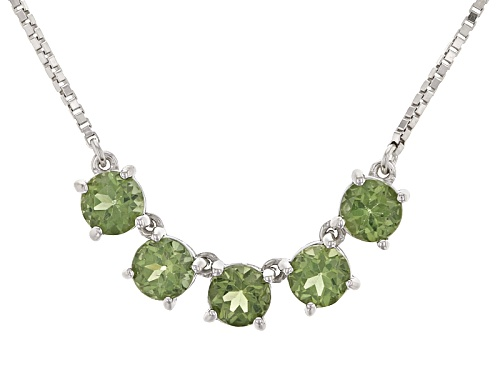 "Photo of 2.25ctw Round Green Apatite 5-Stone Silver Bolo Necklace, Adjusts To Approximately 28"" - Size 28"
