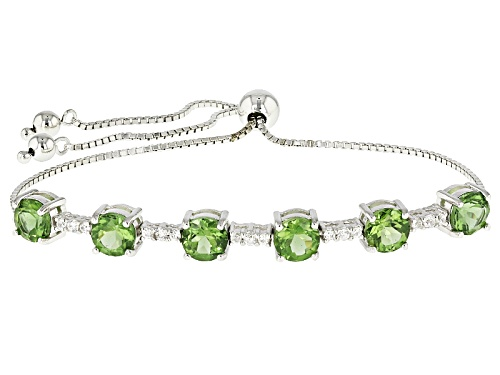 "Photo of 4.44ctw Green Apatite And .31ctw White Zircon Silver Bolo Bracelet Adjusts Approximately 6""-9"" - Size 7"