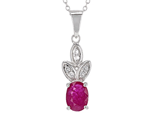 Photo of .90ct Oval Mozambique Ruby With .10ctw Round White Zircon Silver Pendant With Chain