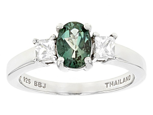 Photo of .60ctw Oval Green Labradorite With .41ctw Square White Zircon Sterling Silver Ring - Size 9