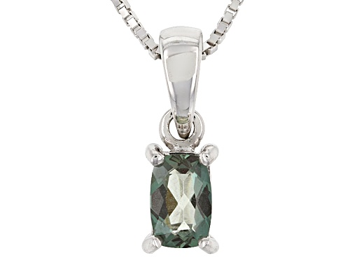 Photo of .37ct Rectangular Cushion Green Labradorite Sterling Silver Pendant With Chain