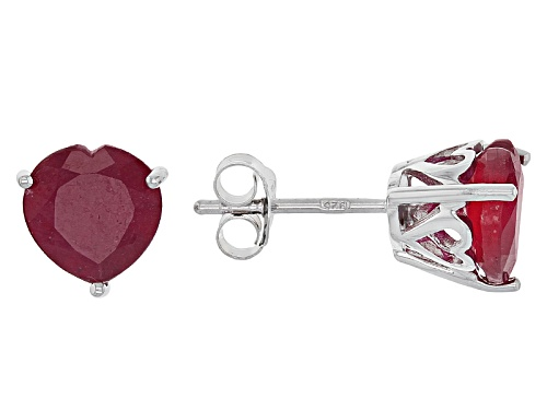 Photo of 3.90ctw Heart Shape Mahaleo® Ruby Solitaire Sterling Silver Stud Earrings