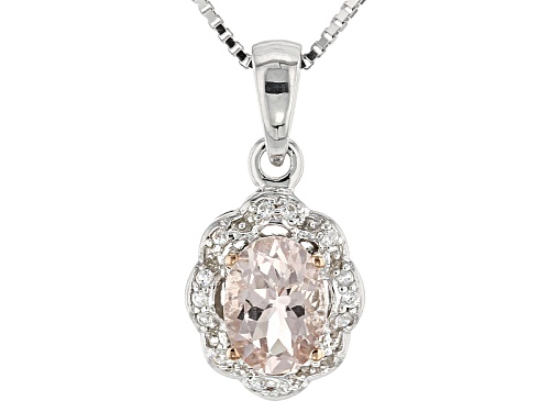 Photo of .85ct Oval Morganite With .10ctw Round White Zircon Sterling Silver Pendant With Chain