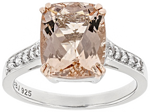 Photo of 3.00CT RECTANGULAR CUSHION PINK MORGANITE & .17CTW WHITE ZIRCON RHODIUM OVER SILVER RING  WEB - Size 7