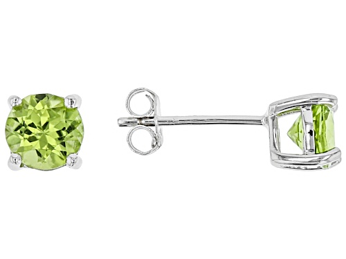 Photo of 1.40ctw Round Manchurian Peridot™ Sterling Silver Stud Earrings