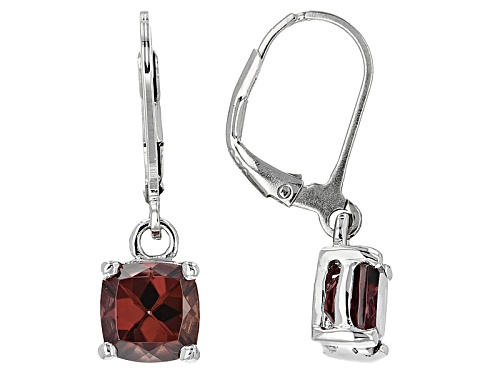 Photo of 4.50ctw Square Cushion Mocha Zircon Solitaire Sterling Silver Dangle Earrings