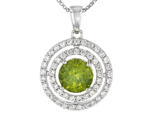 Photo of 1.19ct Round Arizona Peridot With .73ctw Round White Zircon Silver Pendant With Chain