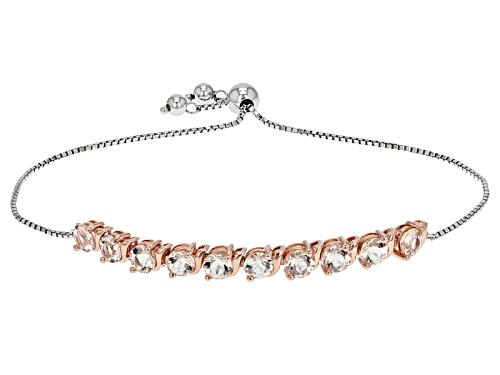 "Photo of 3.82ctw Morganite Silver And 18k Rose Gold Over Silver Two-Tone Bolo Bracelet Adjusts 6""-9"" - Size 7"