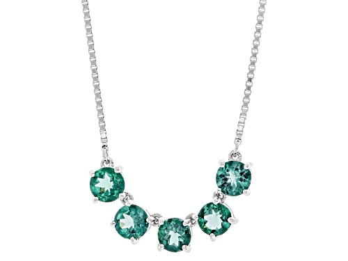"Photo of 2.25ctw Round Teal Apatite 5-Stone Silver Bolo Necklace, Adjusts To Approximately 28""L - Size 28"