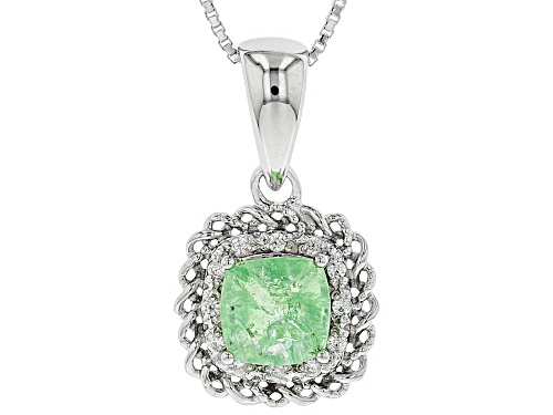 Photo of 1.80CT SQUARE CUSHION TSAVORITE & .11CTW ROUND WHITE ZIRCON RHODIUM OVER SILVER PENDANT WITH CHAIN