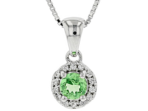 Photo of .40CTW TSAVORITE GARNET WITH .13CTW WHITE ZIRCON RHODIUM OVER STERLING SILVER PENDANT WITH CHAIN