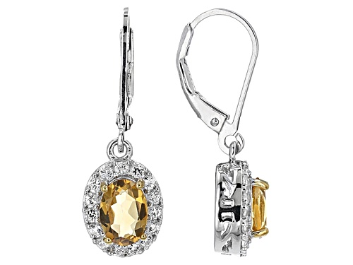Photo of 1.27ctw Oval Brazilian Golden Citrine With .48ctw Round White Topaz Sterling Silver Dangle Earrings