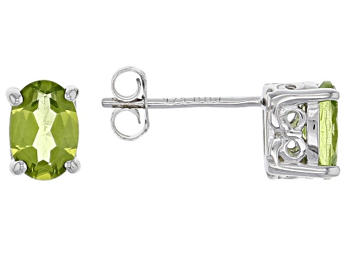 Photo of 1.32CTW OVAL MANCHURIAN PERIDOT™ RHODIUM OVER STERLING SILVER STUD EARRINGS  WEB