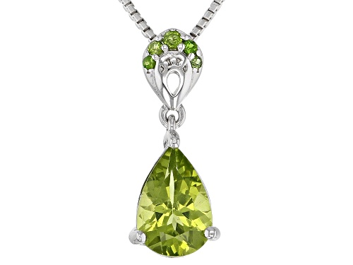 Photo of 1.12CT MANCHURIAN PERIDOT(TM) & .04CTW CHROME DIOPSIDE RHODIUM OVER SILVER PENDANT W/CHAIN..WEB ONLY