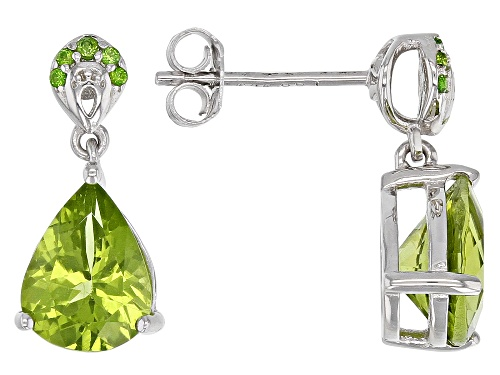 Photo of 2.77CTW MANCHURIAN PERIDOT(TM) & .06CTW CHROME DIOPSIDE RHODIUM OVER SILVER EARRINGS..WEB ONLY
