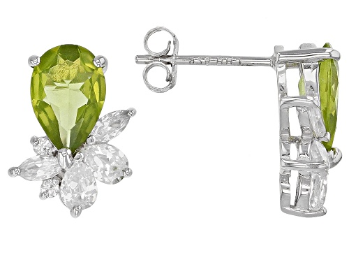 Photo of 2.27ctw Manchurian Peridot™ with 1.30ctw White Zircon Rhodium Over Sterling Silver Earrings