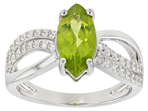 Photo of 1.48ct Manchurian Peridot™ with .33ctw Round White Zircon Rhodium Over Sterling Silver Ring - Size 8
