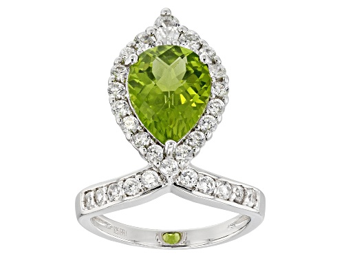 Photo of 3.04ct Manchurian Peridot™ with 1.40ctw White Zircon Rhodium Over Sterling Silver Ring - Size 8