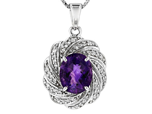 Photo of 2.72CT OVAL MOROCCAN AMETHYST WITH .25CTW ROUND WHITE ZIRCON RHODIUM OVER SILVER PENDANT W/CHAIN WEB