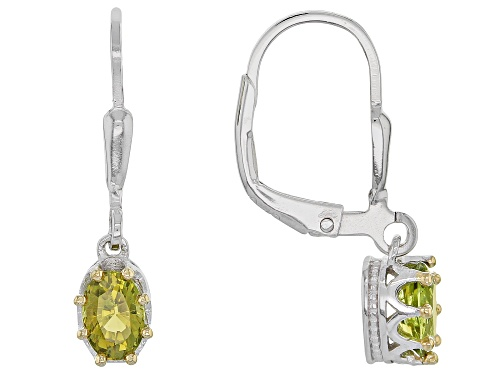 Photo of .83CTW OVAL CANARY GREEN TOURMALINE STERLING SILVER DANGLE EARRINGS
