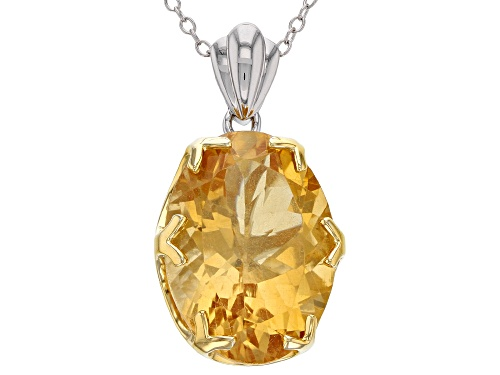 Photo of 9.00CT OVAL BRAZILIAN CITRINE RHODIUM OVER SILVER TWO-TONE PENDANT WITH CHAIN..WEB ONLY