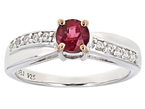 Photo of .48ct round rubellite tourmaline with .17ctw round white zircon sterling silver ring - Size 8