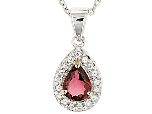 Photo of .83ct pear shape pink tourmaline with .30ctw zircon sterling silver pendant with chain