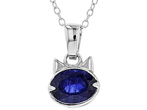 Photo of 1.50CT OVAL MAHALEO (R) BLUE SAPPHIRE STERLING SILVER PENDANT WITH CHAIN
