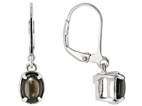 Photo of 2.55ctw oval cabochon black star sapphire solitaire rhodium over sterling silver dangle earrings