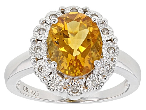 Photo of 1.96ct Oval Citrine With .14ctw Round White Zircon Rhodium Over Sterling Silver Halo Ring - Size 9