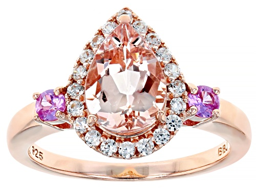 Photo of 1.53CT MORGANITE,.23CTW PINK SAPPHIRE WITH .36CTW WHITE ZIRCON 18K ROSE GOLD OVER SILVER RING - Size 8