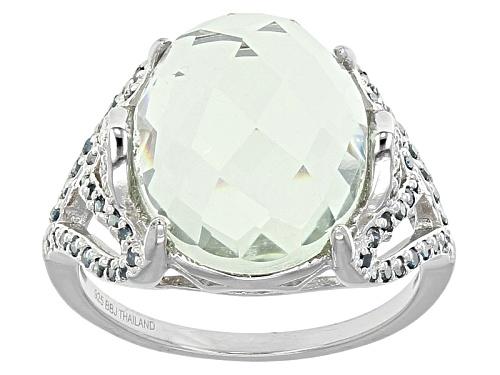 Photo of 8.00ct Oval Prasiolite, .22ctw Blue Diamond, .04ctw White Diamond Accent Silver Ring - Size 8
