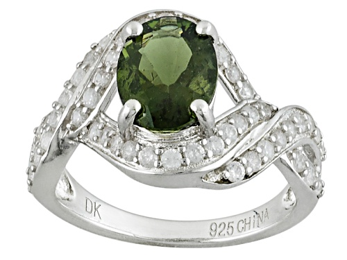Photo of 1.06ct Oval Moldavite And 1.16ctw Round White Zircon Sterling Silver Ring - Size 8