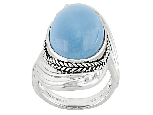 Photo of 18x13mm Oval Cabochon Oregon Blue Opal Sterling Silver Ring - Size 7
