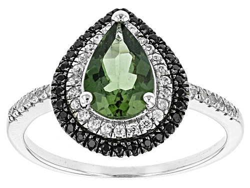 Photo of .97ct Pear Shape Green Apatite, .21ctw Round White Zircon And .15ctw Round Black Spinel Silver Ring - Size 8