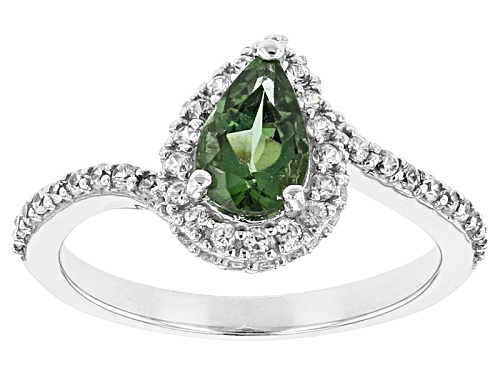 Photo of .63ct Pear Shape Green Apatite With .36ctw Round White Zircon Sterling Silver Ring - Size 8